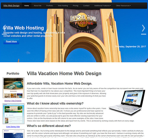 Villa Web Design Page Sample